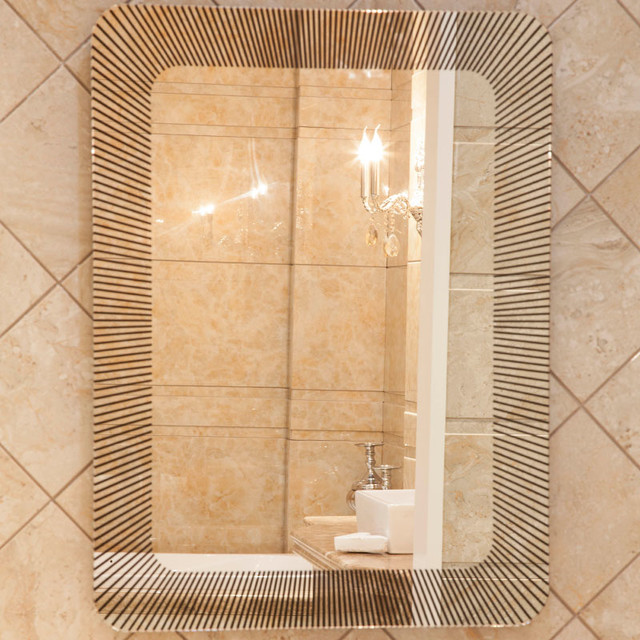 Unique Rectangular Bathroom Mirrors With Printed Lines