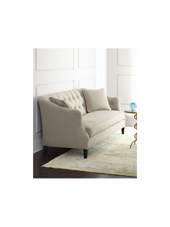 """Horchow - Lindenwood Sofa - Button-tufted sofa offers comfort and easy style while neutral color options ensure you'll find the perfect fit. Handcrafted of select and engineered hardwoods with """"metropolitan"""" finish. Upholstery is polyester/linen blend. Select color when ordering. Feather and down seats and pillows. 85.5""""W"""