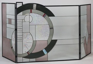 Lot 64 Art Deco Style Stained Glass Fireplace Screen Modern Fireplace Screens Dc Metro