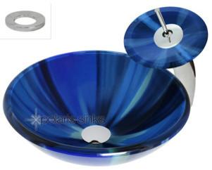 Polaris p726 Blue Sky Glass Vessel Bathroom Sink & Matching Glass Waterfall Fauc modern-bathroom-vanities-and-sink-consoles
