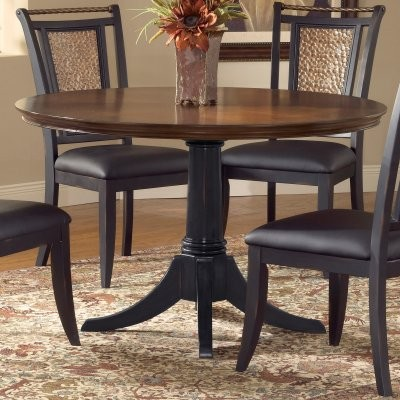 Norwood 48 inch round dining table distressed black base for Distressed round dining table