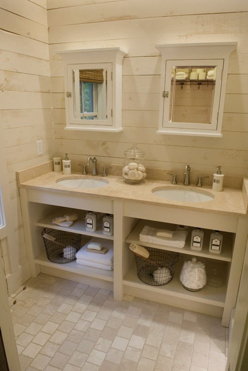 Bathroom Trends Vanities With Open Storage - Bathroom vanities with shelves
