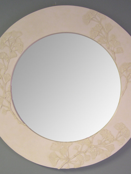 BlindSpot Mirrors - Handmade frame featuring Gingko leaves in ivory color.