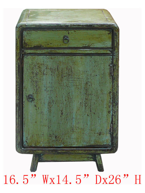 Ming Style Green Nightstand End Table Side Cabinet - This is Chinese Ming style nightstand end table which is made of solid elm wood. It comes with unusual green color and it can be used as side cabinet.