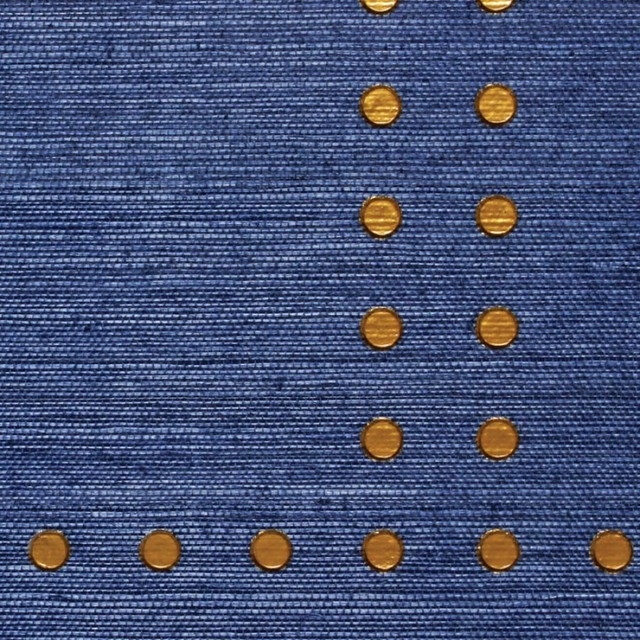 Navy Grasscloth Wallpaper And Gold Rivets Mirror: Rivets Wallpaper, Gold On Navy Manila Hemp