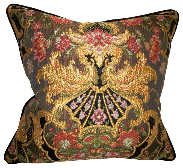 Aubusson Chenille Tapestry Lampas Accent Pillow