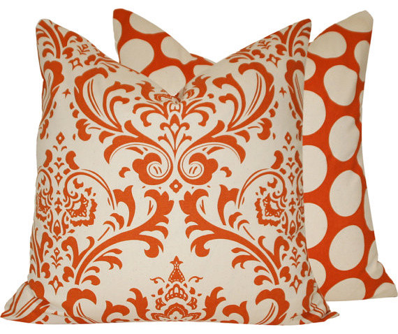 """Orange Creamsicle 18"""" Decorative Pillow l Chloe and Olive traditional-pillows"""