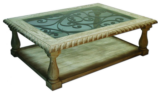Tuscan glass scroll coffee table natural wood and for Cream glass coffee table