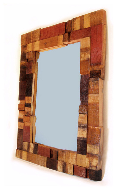 Mirrage, Large Wall Mirror recycled oak wine barrel staves wall-mirrors
