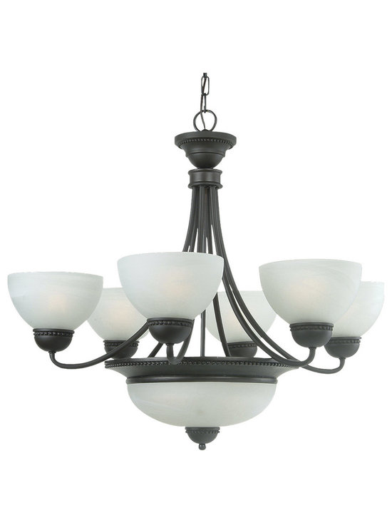 Royce Lighting - Royce Lighting 8 Light  Energy Star Oil Rubbed Bronze Chandelier - RC40ES/8-23 Bulb Type: Fluorescent Features: -Eight light chandelier. -Westlake collection. -Oil rubbed bronze finish. -Metal construction. -Textured white alabaster glass. -ISTA 3A certified. -Eco friendly. -Assembly required. Specifications: -Accommodates (8) medium base or CFL bulb.