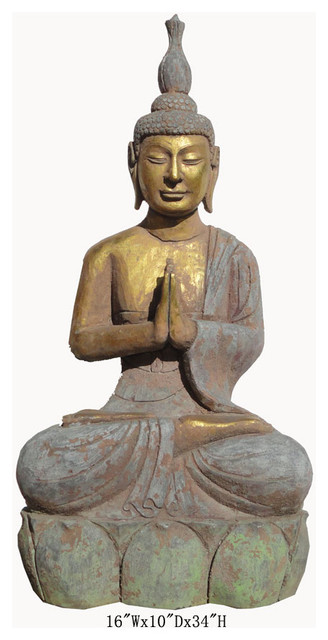 Chinese antique stone gold carving sitting buddha garden - Bouddha statue deco ...