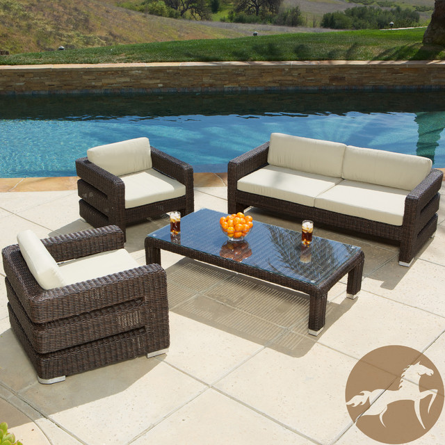 Christopher Knight Home Sonoma 4 piece Wicker Outdoor Sofa Set Contemporary