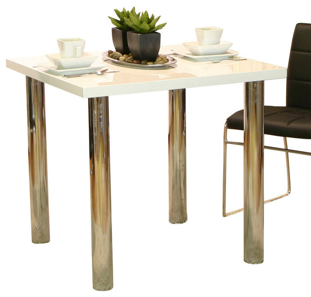 Cramco Napoli Square White Top Dining Table with Chrome  : contemporary dining tables from www.houzz.com size 640 x 612 jpeg 61kB