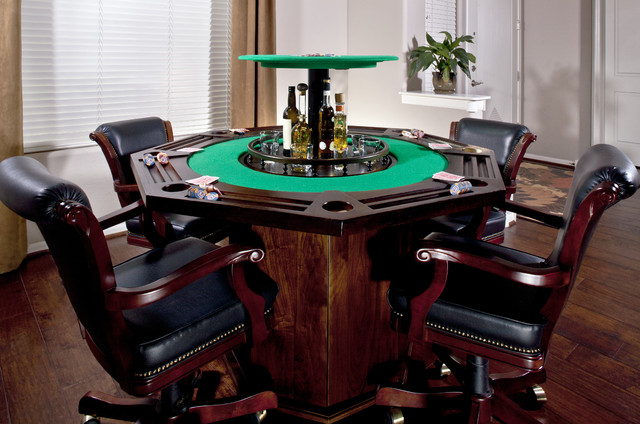 Custom Poker Table With Hidden Bar Traditional Phoenix By Nexus 21