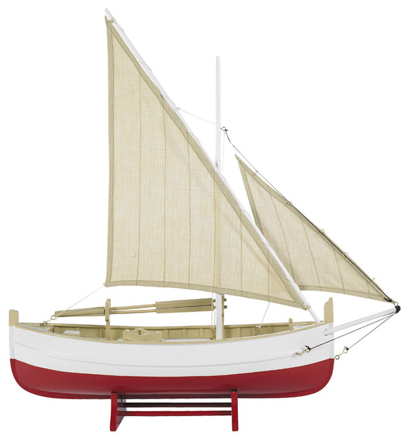 Authentic Models AS088 Biscay Fishing Boat, Red traditional-home-decor