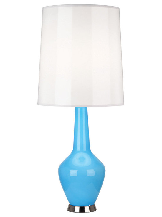 Robert Abbey - Jonathan Adler Capri Bottle Blue Table Lamp, Blue - Jonathan Adler's Capri Collection for Robert Abbey features a hand-blown milk glass interior and a bold blue, grey, orange, or white colored outer-later with a gloss parchment shade. Note, due to the nifty hand-blown nature of the glass, there can be subtle differences from lamp to lamp, but dig it!