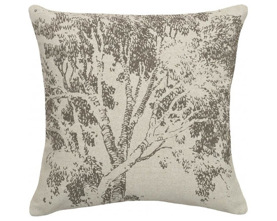 123 Creations - Tree, Hand-printed Linen Pillow - Hand-printed on unbleached linen fabric. Feather-down insert with zipper closure. Machine wash cold with like colors, no bleach, tumble dry low.