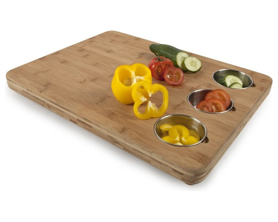 Bamboo Butchers Block with 3 Prep Bowls -