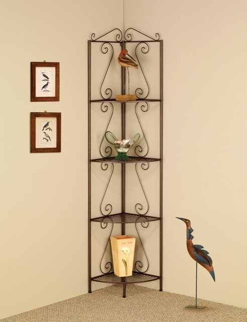 Copper Corner Shelf With Decorative Scrolls Traditional