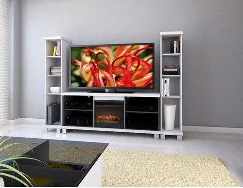 Holland 60 Tv Stand With Electric Fireplace Modern Indoor Fireplaces By Allmodern