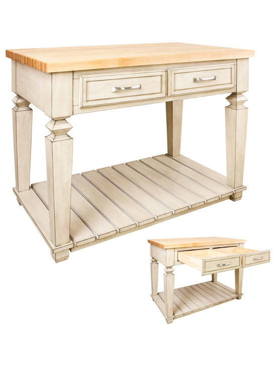 """Inviting Home - Newbury Kitchen Island (antique white) - Newbury kitchen island cabinet in antique white finish; 45-15/16"""" x 28-1/6"""" x 34-1/4""""; 1-3/4"""" hard maple butcher block top (03) sold separately; This table style kitchen island with open shelf is manufactured using the highest quality furniture grade hardwoods and MDF. The kitchen island features two deep working drawers on one side and a false front on the reverse. Drawers are dovetail solid hardwood and are mounted on under mount full extension soft close slides. Decorative hardware is included with this item. French White finish is applied by hand. Hard maple butcher block top (03) sold separately."""