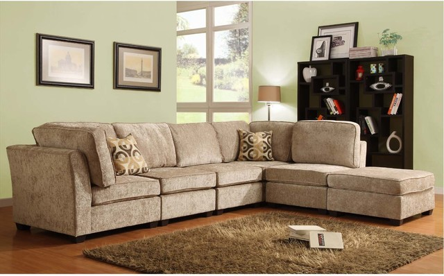 F homelegance modern small brown beige chenille sectioanl for Beige sectional with chaise