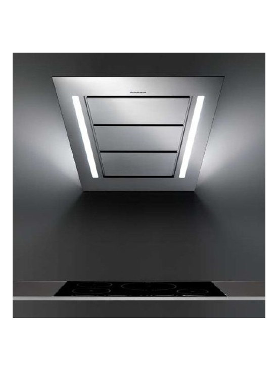 "Designer Range Hoods - ""Diamond"" Series - Designer Italian range hood with diagonal profile, wall illumination effect, polished stainless steel & futuristic Perimeter Suction filter system. Powerful 940-CFM blower, halogen lighting, electronic controls, dishwasher-safe filters. View full specifications, stock status, and pricing - visit www.futurofuturo.com for more info, or call 1-800-230-3565."