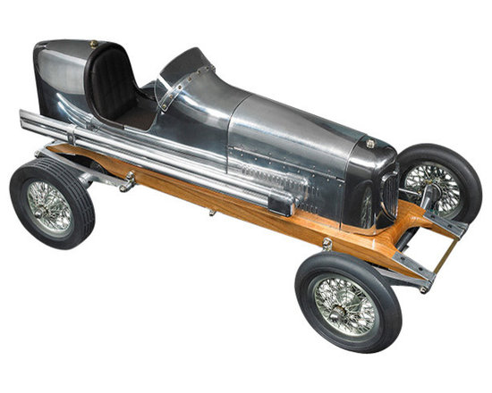 """Inviting Home - Bantam Midget Racecar Model - Bantam Midget racecar model 19"""" x 8-3/4"""" x 7-1/8""""H The 1930s saw the rise of hand built model racecars known as Spindizzies or tether cars. Miniature racecars built by hobbyists zoomed around banked wooden tracks at speeds approaching 150 miles per hour. Resembling the full-size racers of their day several Spindizzies competed at once tethered by cables to a central pole. Powered by model airplane engines spindizzies raced against the clock. Incredibly detailed and aerodynamic these miniature racecars were beyond toys; they were pieces of art representative of the best pioneering technology of the era. Constructed using original blueprints our Bantam Midget model resembles the original down to the smallest detail. One look and you'll be ready to join the competition."""