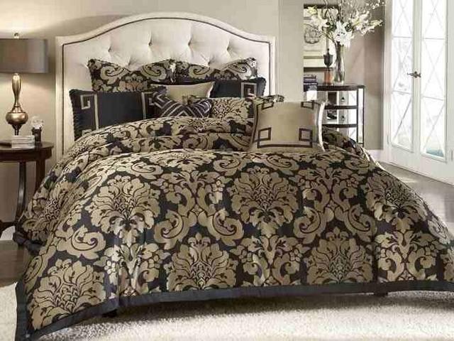 Aico Furniture Wynn Noir Matte Gold Jacquard 10 Pc King
