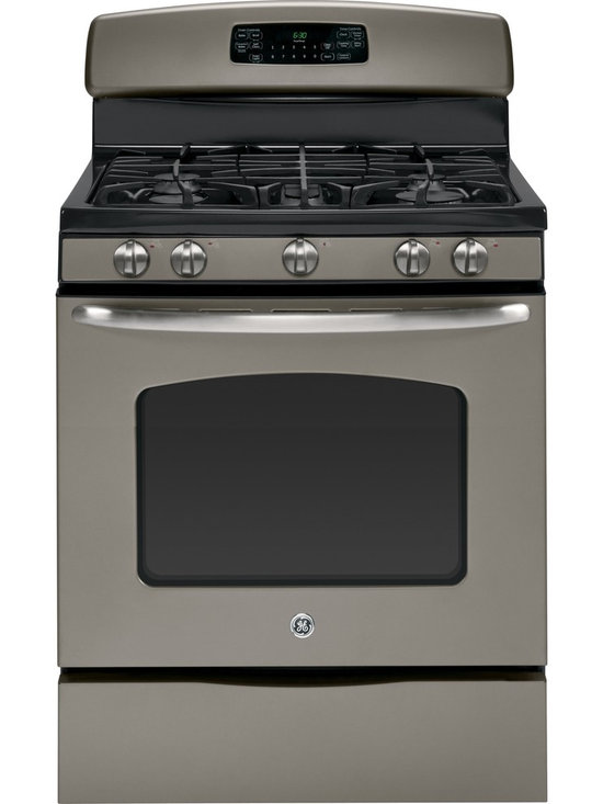 "GE® 30"" Free-Standing Gas Range - This gas range circulates heat for high-quality results, cleans the oven cavity without the need for scrubbing.  The double-coated racks can stay in the oven during the self-clean cycle  It has enough room to cook an entire meal at once. Delivers intense heat for fast boiling."