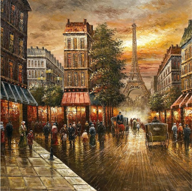 French design bathrooms - Paris Nights Impressionist Cityscape Oil Pain Contemporary Artwork