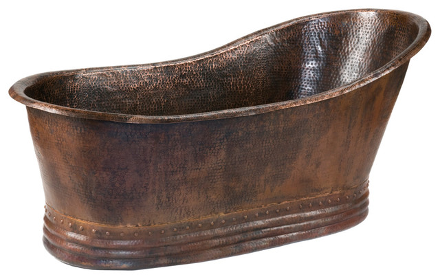 "67"" Hammered Copper Single Slipper Bathtub rustic-bathtubs"