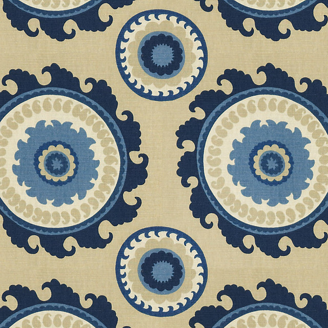 Rosina Blue Fabric by the Yard traditional-upholstery-fabric