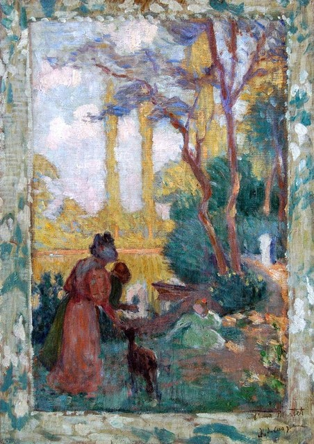 Henri Lebasque Young Woman and Children in Park  Print traditional-artwork