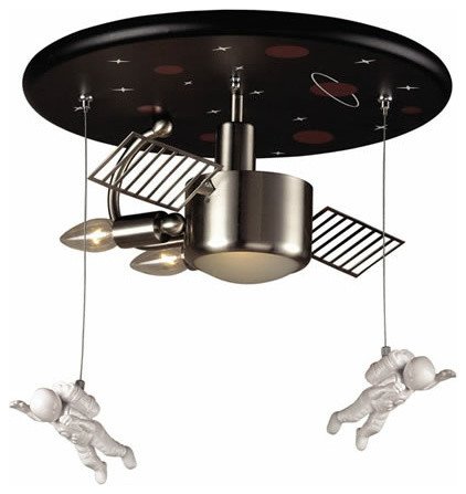 Astronaut Flush Mount Ceiling Light in Satin Nickel eclectic-kids-lighting