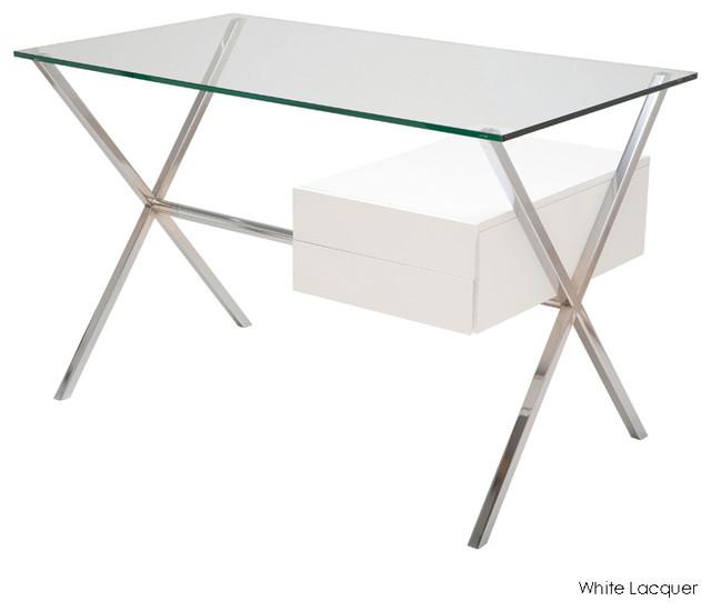 Xavier Desk White Lacquer Modern Desks By Inmod