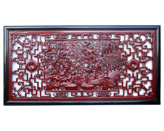 Chinese Eight Immortal Scenery Red Painted Wall Panel - This wall panel has the center theme of traditional Chinese mythical story group - eight immortial. It is decorated with red paint color which enriches and shows off the carving.