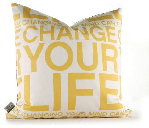 Change Your Life Pillow in Sunflower modern-decorative-pillows