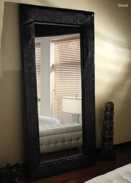 Diamond Sofa - Zen Accent Floor Mirror Wrapped in Black PVC - ZENMIBL ...