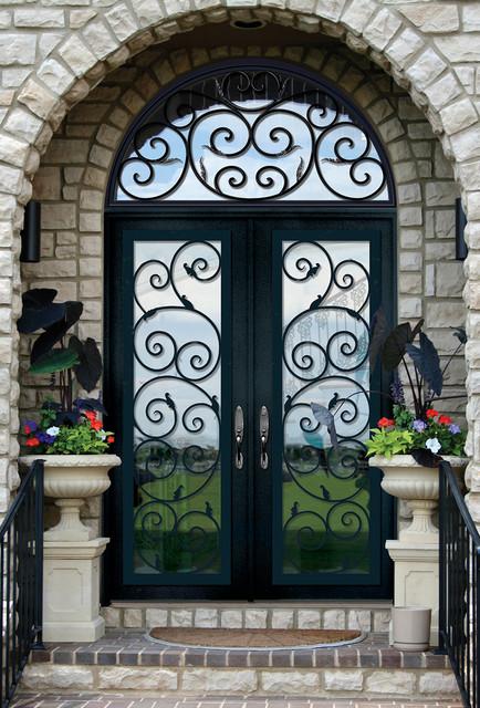 GlassCraft's Buffalo Forge Steel Double Door with Transom in Orvieto design mediterranean-front-doors