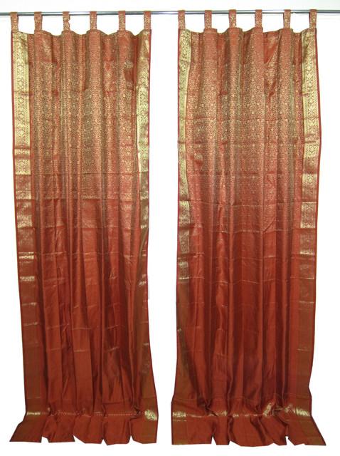 2 India Curtains Rust Gold Brocade Silk Sari Curtains Floral Drapes Window Dress Asian