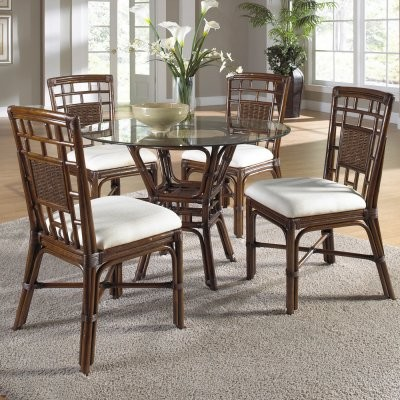 Hospitality Rattan Padre Island 5 Piece Rattan & Bamboo 42 in. Dining Set - modern-dining-tables