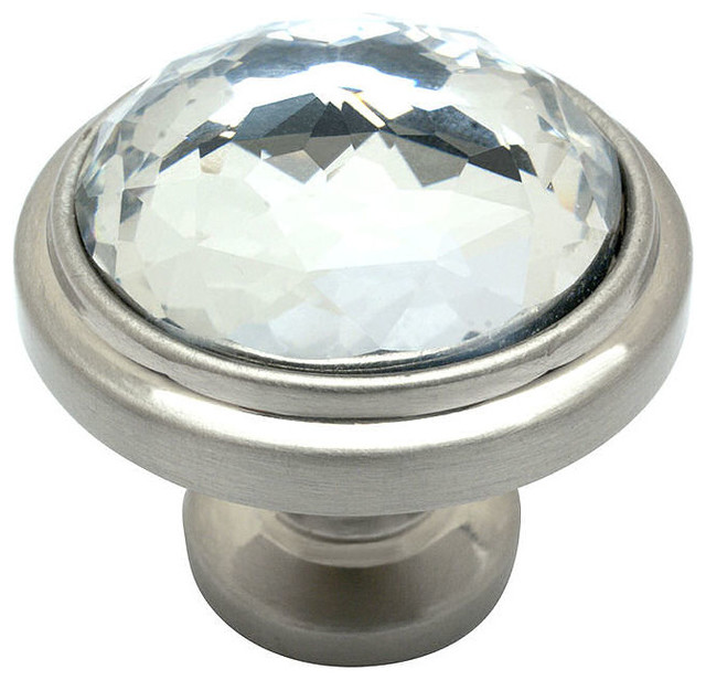 Satin Nickel & Clear Glass Round Cabinet Knob - Traditional - Cabinet ...