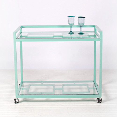Hampton Indoor Outdoor Bar Cart in Turquoise modern bar carts