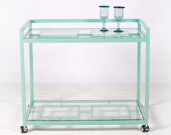 Hampton Indoor Outdoor Bar Cart in Turquoise modern-bar-carts
