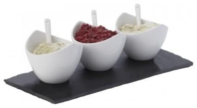 Slate 7-Piece Rectangular Dipping Set modern-serving-and-salad-bowls