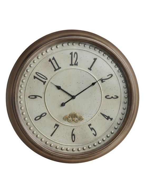 "COOPER CLASSICS - James 24"" Wall Clock - Taupe Finish."