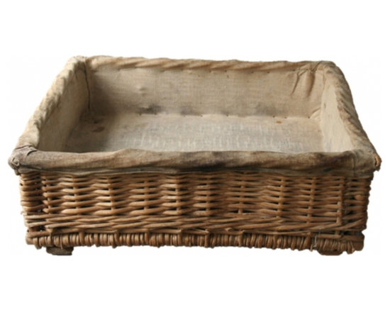 Boulangerie Basket - Charming and functional--French wicker at it's best! A gorgeous antique fabric-lined 'boulangerie' basket from a locally owned French baker--boulangerie. Originally used filled with stacks of baguettes...