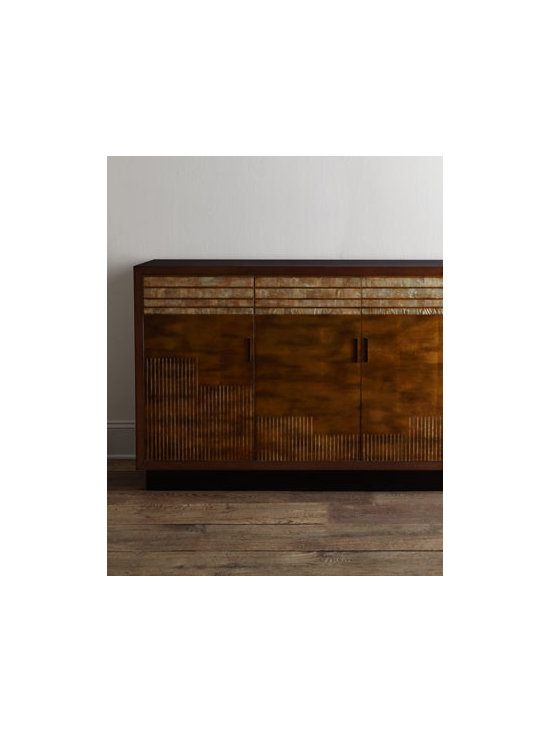 """John-Richard Collection - John-Richard Collection """"Masonville"""" Console - Inspired by a buffet shown at the reknowned 1928 Paris Exhibition, this striking console offers a symphony of color and texture while providing ample storage and display space. From the John-Richard Collection. Handcrafted of acacia wood and wood com..."""
