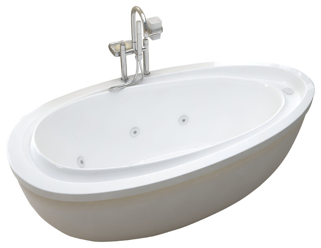 Venzi Tullia 38 x 71 Oval Freestanding Soaker Bathtub modern-bathtubs